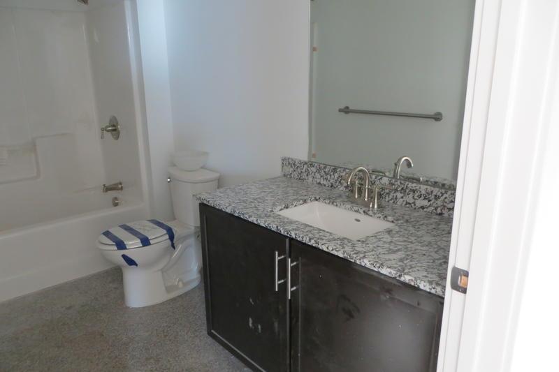 A model bathroom in a 16th floor unit.
