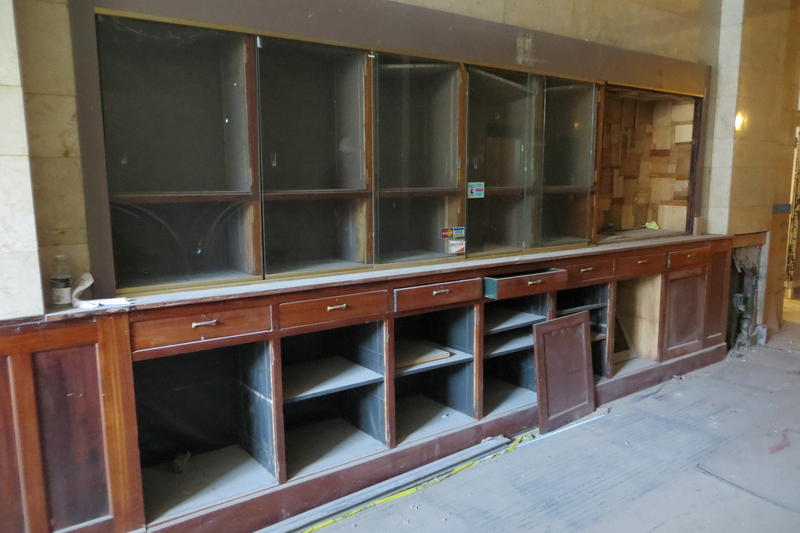 A last photo of the antique news stand and cigar shop, which did not survive renovation.