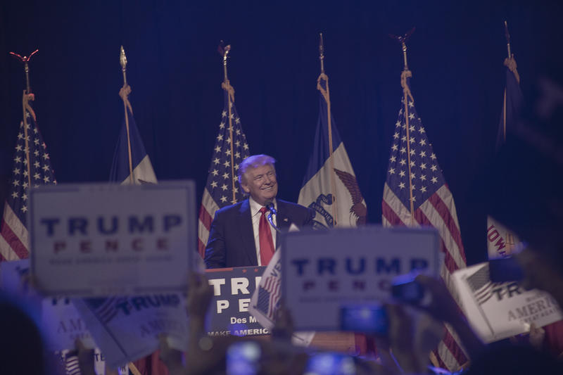 GOP presidential candidate Donald Trump at the Iowa Events Center