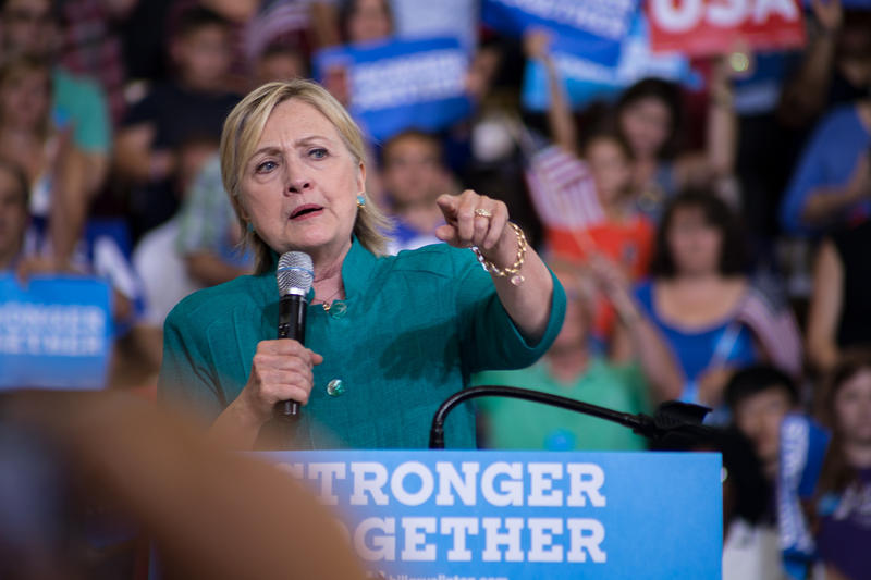Democratic presidential nominee Hillary Clinton speaks to a crowd at Lincoln High School in Des Moines