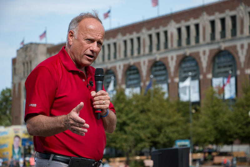 Congressman Steve King speaks at the Des Moines Reigster Political Soapbox at the 2016 Iowa State Fair.