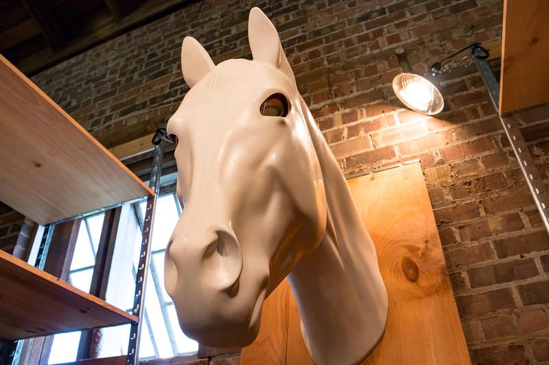"A fiberglass horse head with mirrored surface eyes is part of the work ""Switch"" by M12 Studio.  This Colorado based organization was commissioned by the Greater Des Moines Public Art Foundation to put a temporary work of art at the Iowa State Fair."