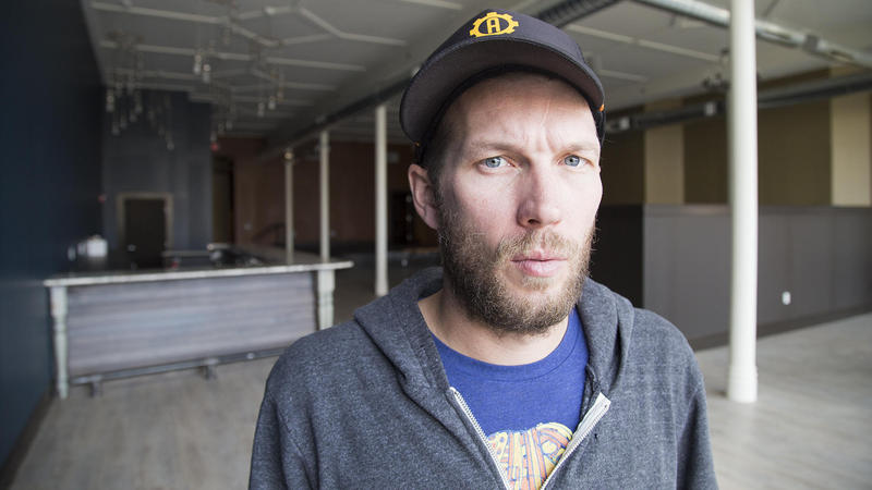 Daytrotter creator Sean Moeller stands inside the music venue attached to the front of his new studio in downtown Davenport, Iowa.