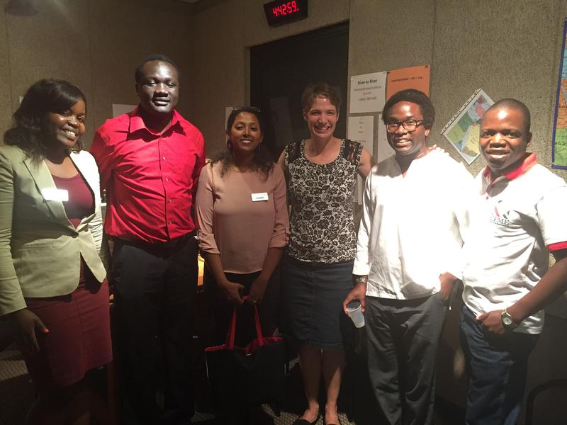 Pictured from left: Ruramiso Mashumba, Dave Okech, Lulayn Awgichew Ergette, Charity Nebbe, Dimy Doresca, and Peter Yakobe