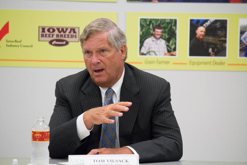 US Agriculture Secretary Tom Vilsack responds to cooments from young and beginning farmers he met with for a roundtable discussion in Ames.