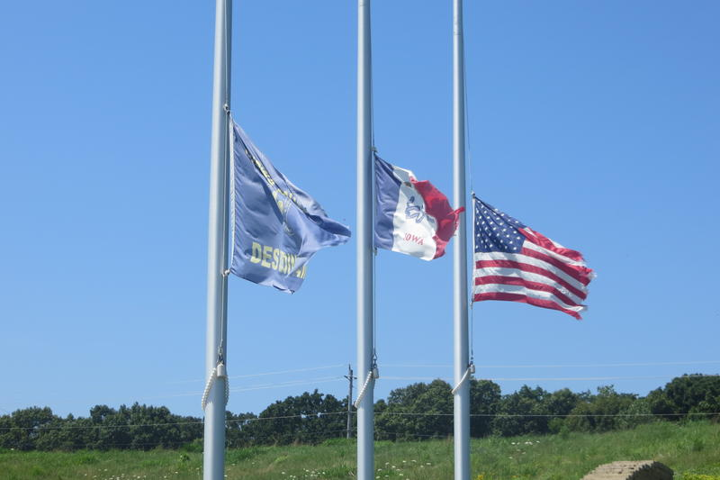 Three flags at the Boy Scouts of America headquarters in Des Moines.