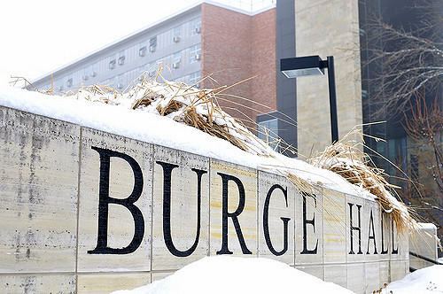 Burge Hall on campus at the University of Iowa