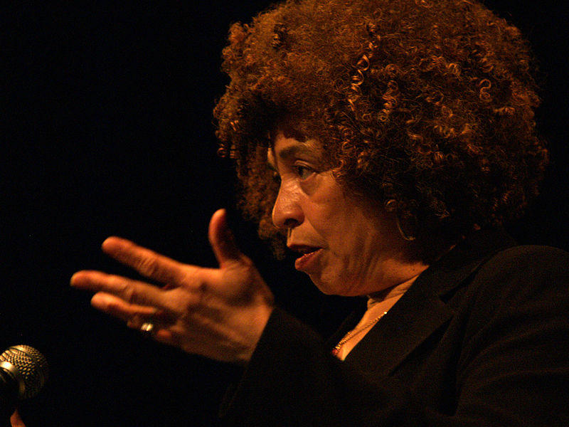 Angela Davis speaking at Myer Horowitz Theatre of the University of Alberta.