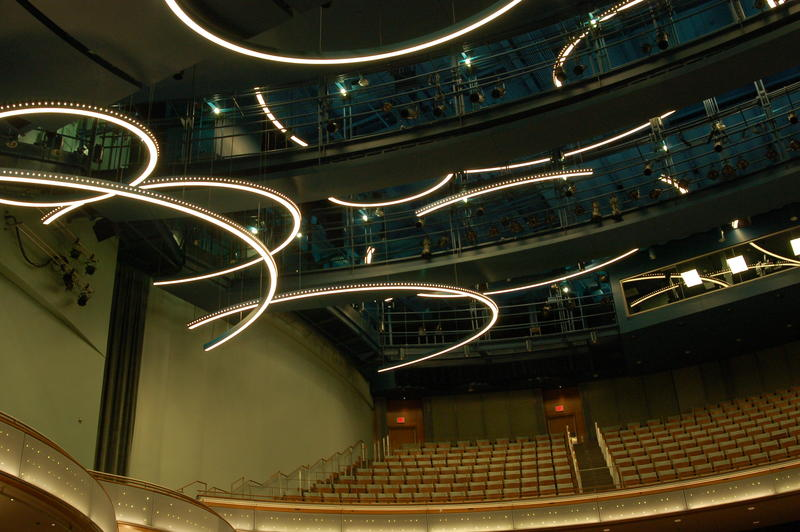 Hoop lights and sparkling LEDs line the ceiling inside the new Hancher auditorium