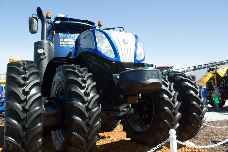 This New Holland tractor is rigged up with self-driving technology.