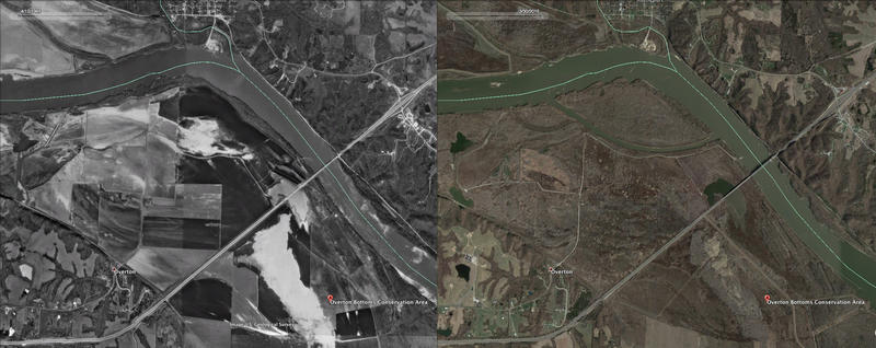 At left, the Overton (Missouri) Bottoms Conservation Area in 1995, as seen from a U.S. Geological Survey photo, which consisted mostly of farmland. At right, the same land in 2015 as a restored wetland.