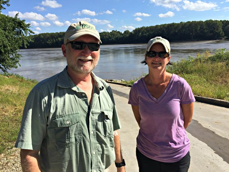 Hydrologist Robb Jacobson and geologist Carrie Elliott, both with the U.S. Geological Survey, monitor the farm runoff and water quality in the Missouri River, from Montana to its confluence with the Mississippi River near St. Louis.
