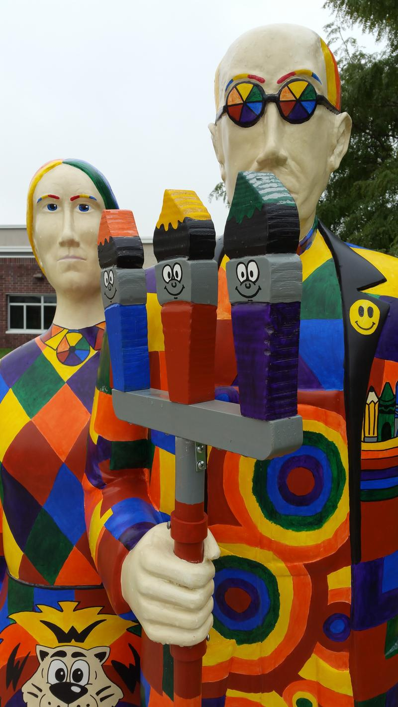 """American Color Explosion Gothic,"" greets students at Westfield Elementary. It was created by Westfield art teacher, Michael Brandt."