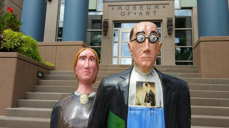 """Iowadn't Take you for Granted,"" stands at the 3rd Ave. entrance to the Cedar Rapids Museum of Art. It was created by artist Terry Willits."
