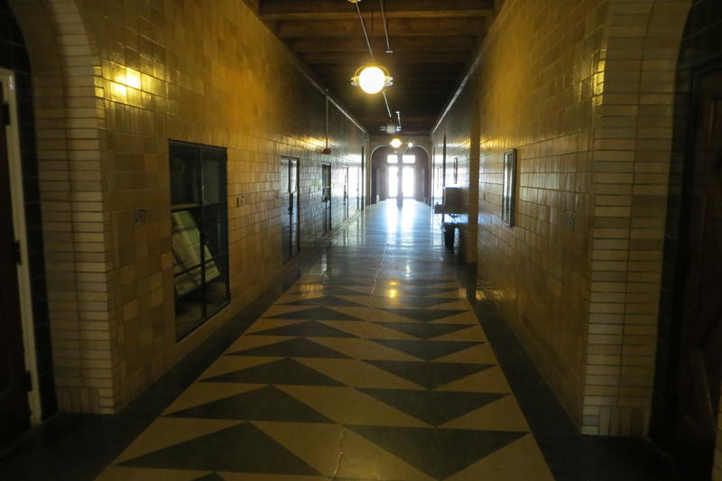 The intact main hallway at Algona's O.B. Laing School.