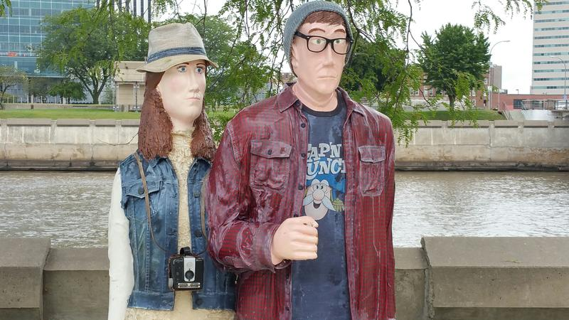 """American Hipster,"" is hanging out along the river walk by McGrath Amphitheater."