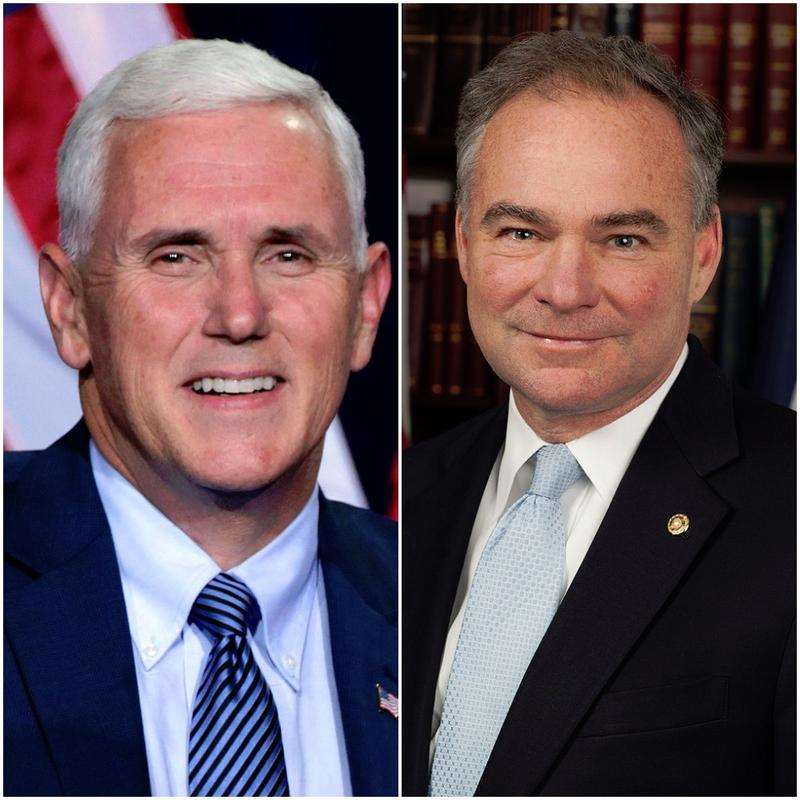 Republican Gov. Mike Pence of Indiana (left) and Democratic Sen. Tim Kaine of Virginia are both on their party's ticket, running for the vice presidency.