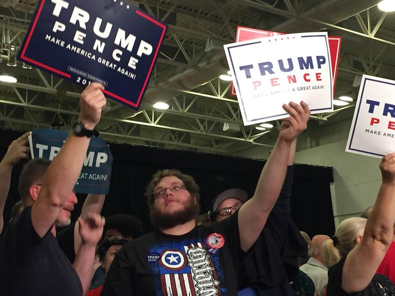 Trump supporters at the Mid-America Center in Council Bluffs
