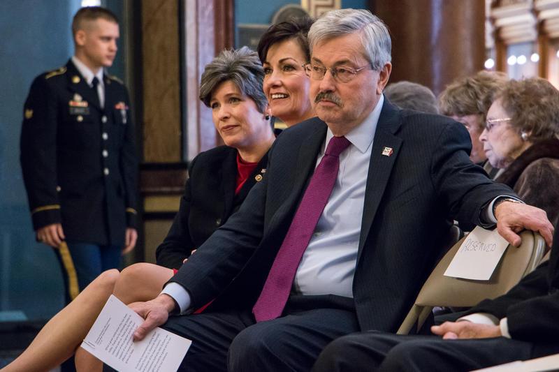 U.S. Senator Joni Ernst, Lt. Governor Kim Reynolds, and Governor Terry Branstad at the Iowa Capitol. 1/16/2015
