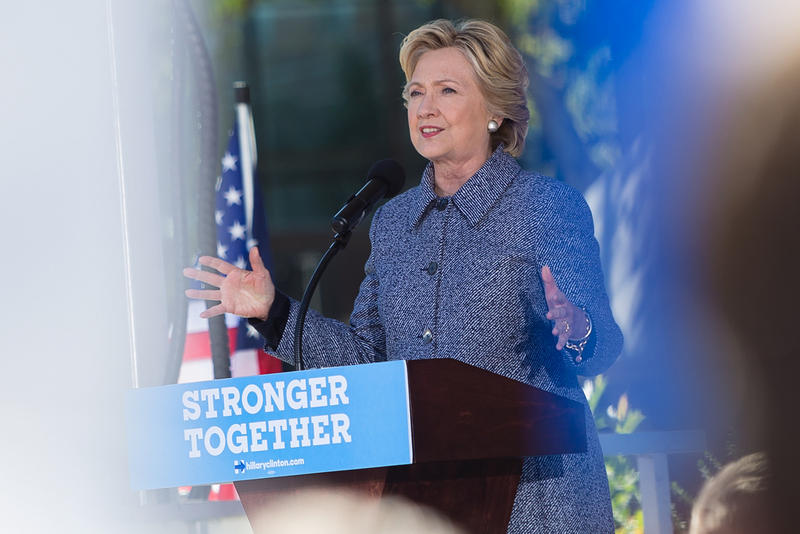 Democratic presidential candidate Hillary Clinton campaigns in downtown Des Moines, Iowa. 9/29/2016