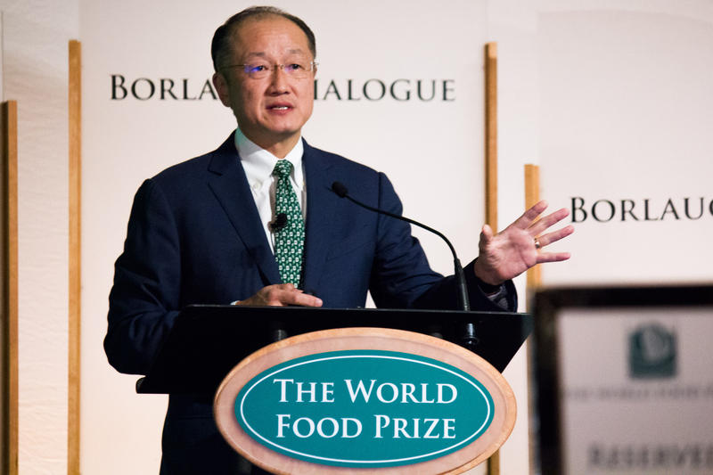 World Bank president Jim Yong Kim, who grew up in Iowa, spoke during the Borlaug Dialogue in Des Moines Thursday.
