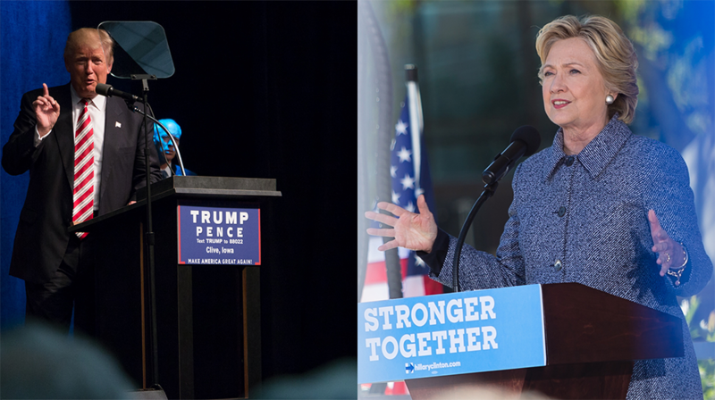 Republican presidential nominee Donald Trump and Democratic nominee Hillary Clinton spoke separately in Iowa in September.