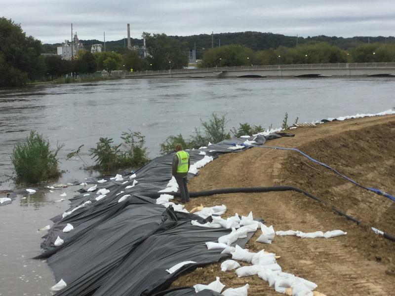 Part of a system of temporary levees contructed to protect Cedar Rapids from the recent 22-foot flood.