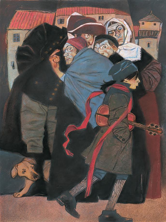 Gary Kelley, Suspicious Crowd, 2008, pastel on paper, from the book Dark Fiddler, The Life and Legend of Nicolò Paganini, written by Aaron Frisch, and published by Creative Editions.