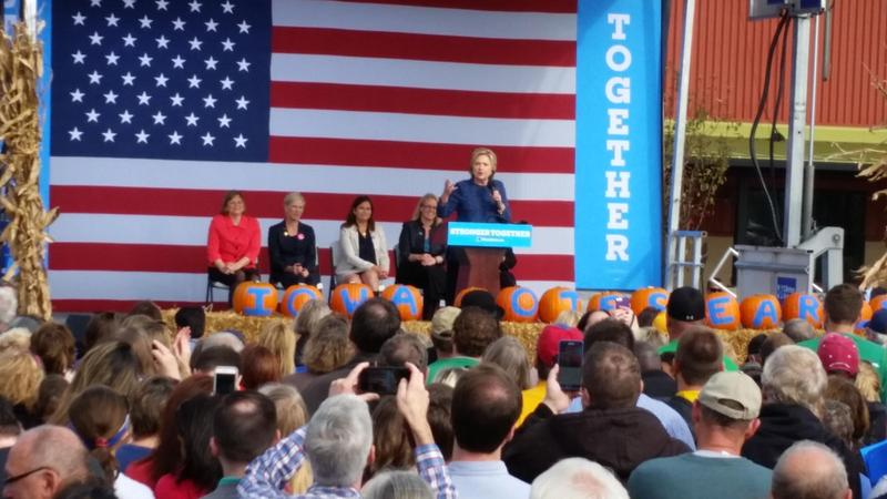 Hillary Clinton made a pitch for early voting at a Friday rally in Cedar Rapids, but said nothing publicly about news the FBI was reviewing newly-discovered emails related to her private server.