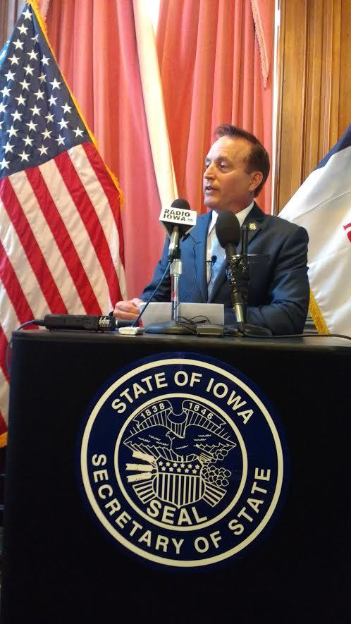 """Iowa Secretary of State Paul Pate tells reporters elections in Iowa, """"are not rigged."""" (10/17/2016)"""