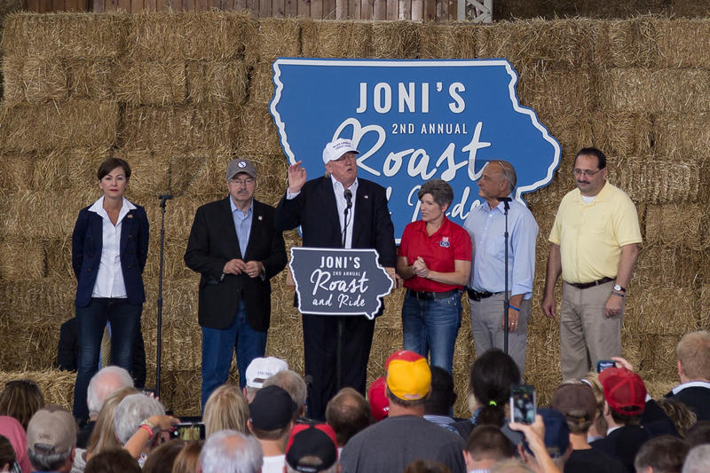 Donald Trump appears on stage with many of Iowa's top-elected Republicans at Sen. Joni Ernst's 2nd 'Roast and Ride' fundraiser. 8/27/2016