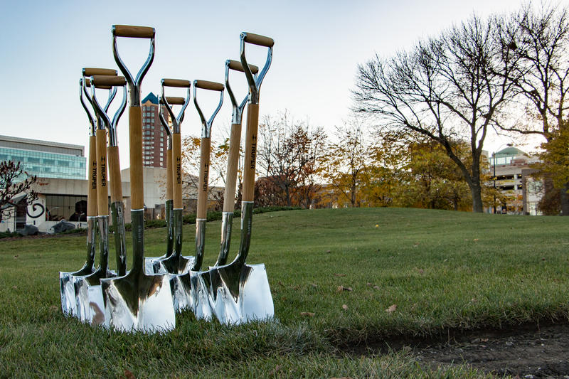 "Silver shovels in the ground of a downtown Des Moines park for a groundbreaking ceremony for the statue ""A Monumental Journey,"" honoring the founding in 1925 of the National Bar Association."