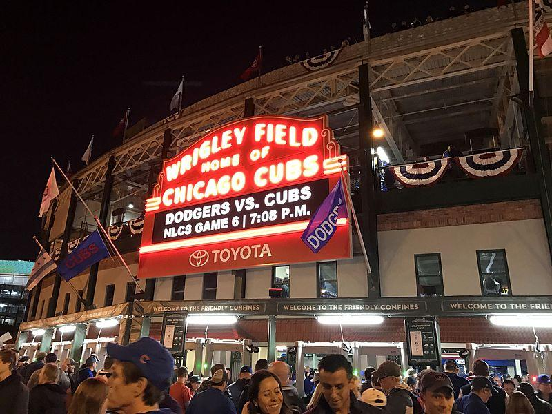 Outside Wrigley Field, minutes before NLCS Game 6.