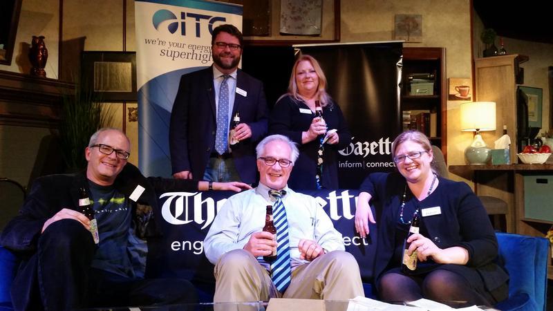 The Pints and Politics crew - (from left) Ben Kieffer, Todd Dorman, James Lynch, Lynda Waddington, and Jennifer Hemmingsen