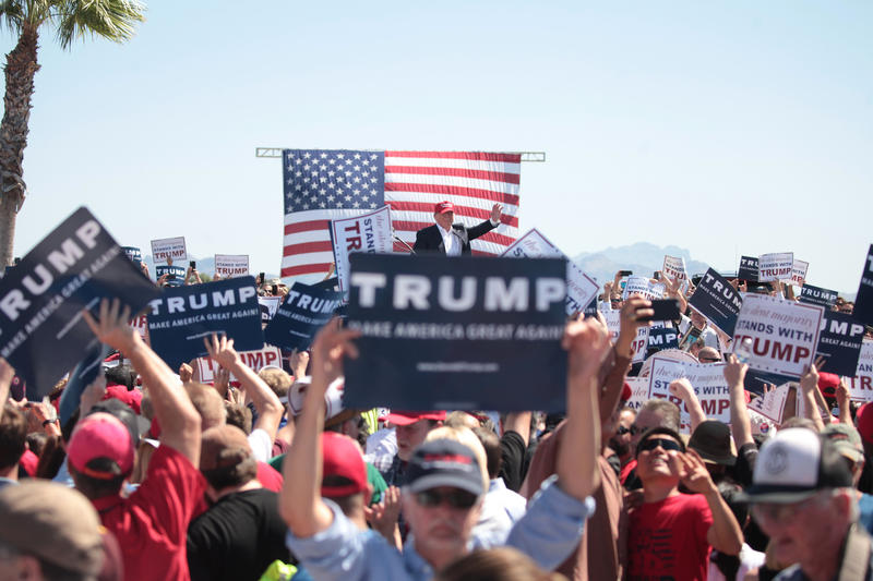 Donald Trump speaking to supporters at a campaign rally in Fountain Hills, Arizona