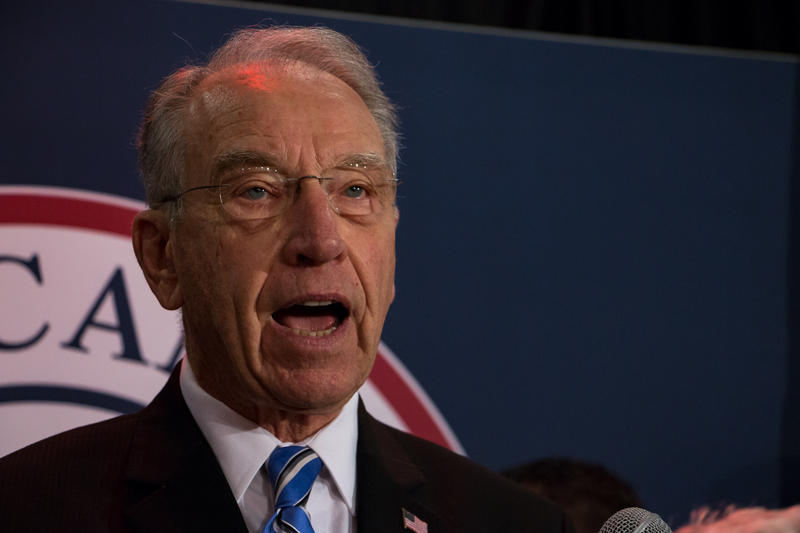 U.S. Sen. Chuck Grassley speaks in downtown Des Moines after winning a seventh term.