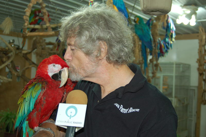 Mike Hutchison with Bilbo Baggins, a macaw