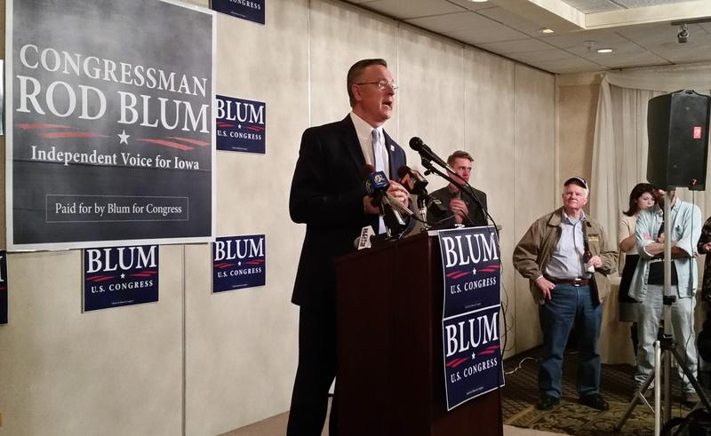 2nd District Rep. Rod Blum speaks to supporters in Dubuque