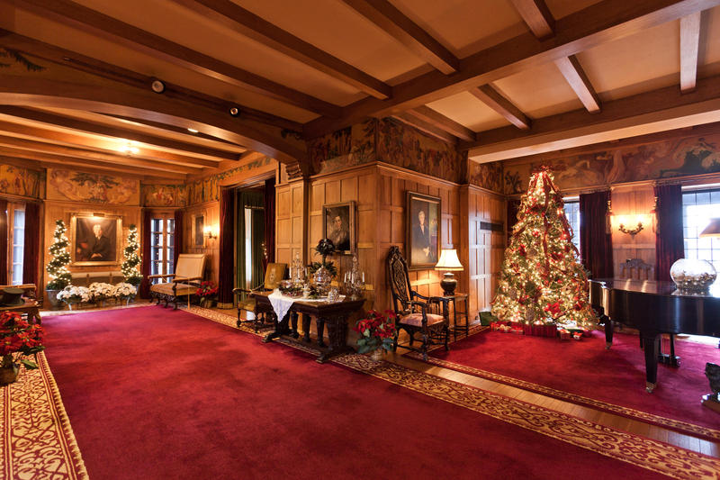 An inside view of Brucemore mansion, decorated for the holidays