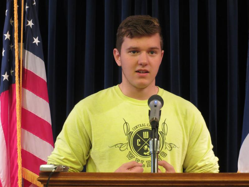 Central Campus High School student Josh Smith  at a statehouse news conference promoting Apprenticeship Appreciation and Awareness Week