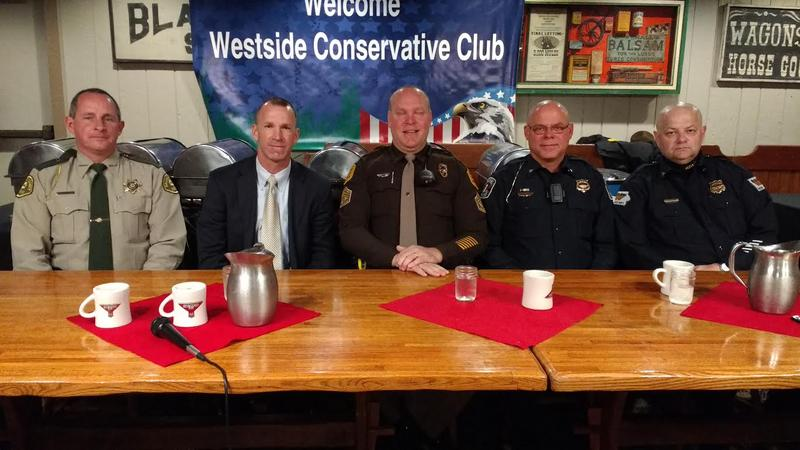 Dallas County Sheriff Chad Leonard, FBI Special Agent Robert DeWitt, Sgt. Joe Ellery of the Iowa State Patrol, Clive Police Chief Mike Venema, and Lt. Travis Overson of the West Des Moines Police.