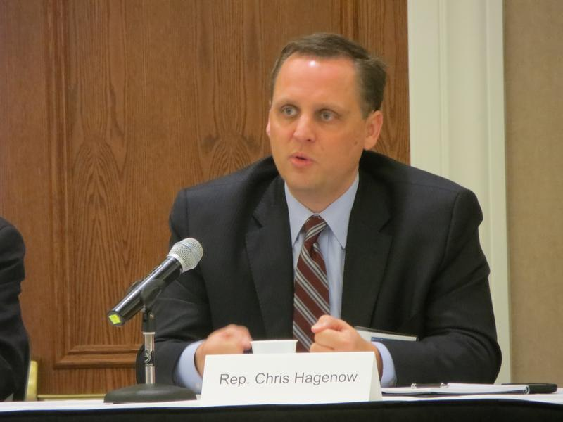 House GOP Majority Leader Rep. Chris Hagenow (R-Windsor Heights)  at a meeting of the Iowa Taxpayers Association