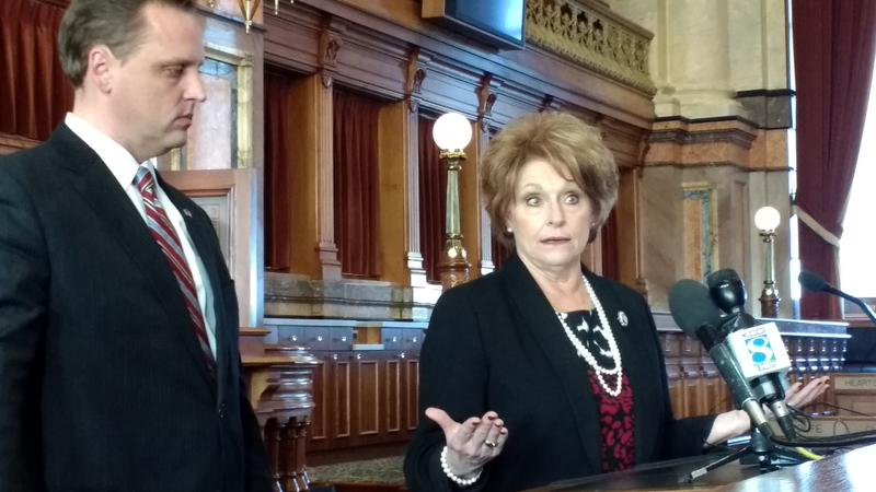 Speaker Linda Upmeyer addresses reporters after meeting with the House GOP caucus.
