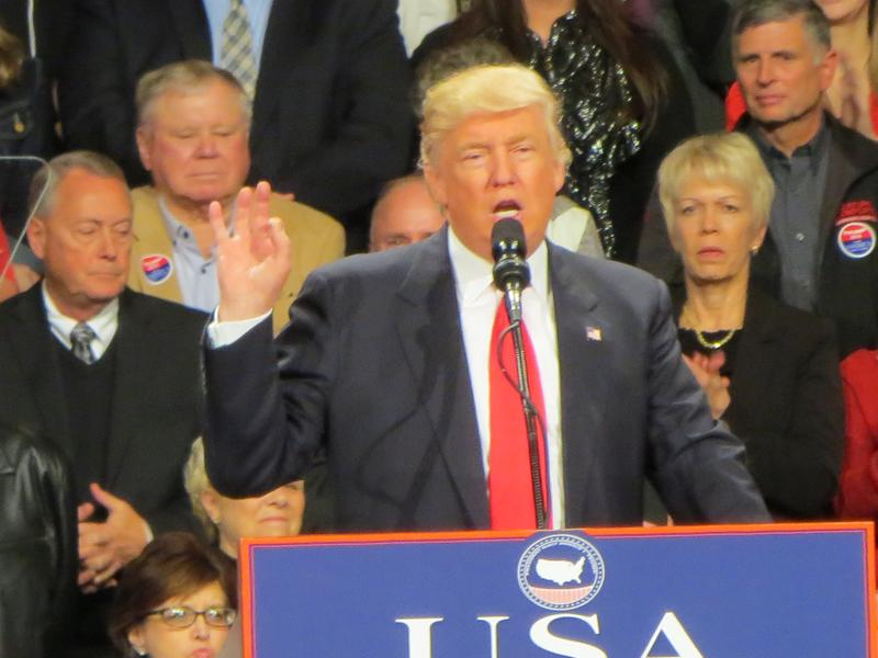 """President-elect Donald Trump at a """"thank you"""" rally in Des Moines"""