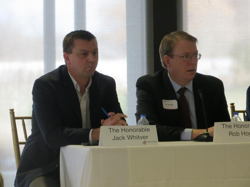 Sen. Jack Whitver (R-Ankeny) and Sen. Rob Hogg (D-Cedar Rapids).   They spoke at a legislative luncheon for the Greater Des Moines Partnership