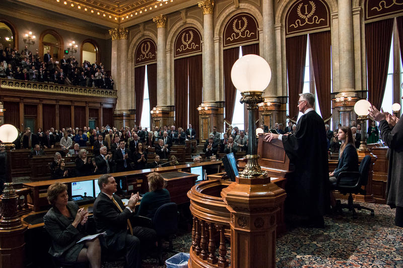 Iowa Chief Justice Mark Cady delivers the State of the Judiciary Address.