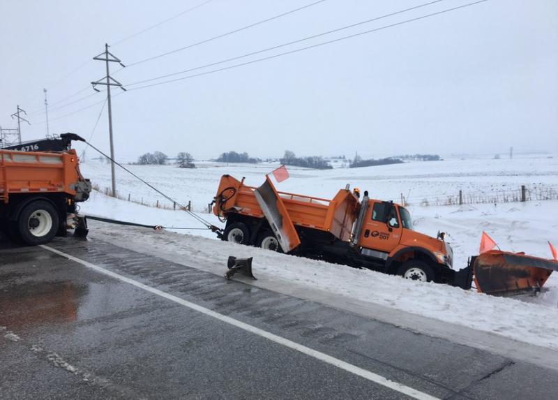 An IDOT truck slid off U.S 18 in northeast Iowa this morning.