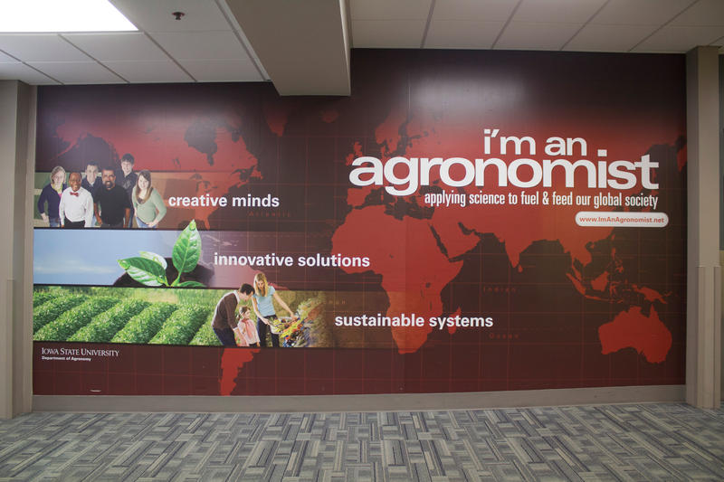 The Des Moines Airport arrivals area is one of many sites across Iowa that has displayed 'I'm an Agronomist' ads, part of a campaign to recruit more different kinds of students into Iowa State University's Agronomy department.
