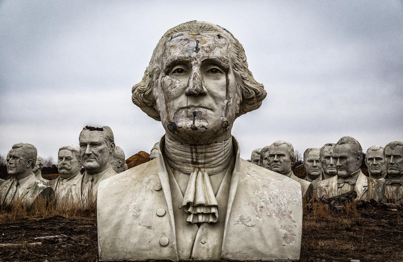 Remains from Presidents Park, a now-defunct open-air museum containing statutes of U.S. presidents