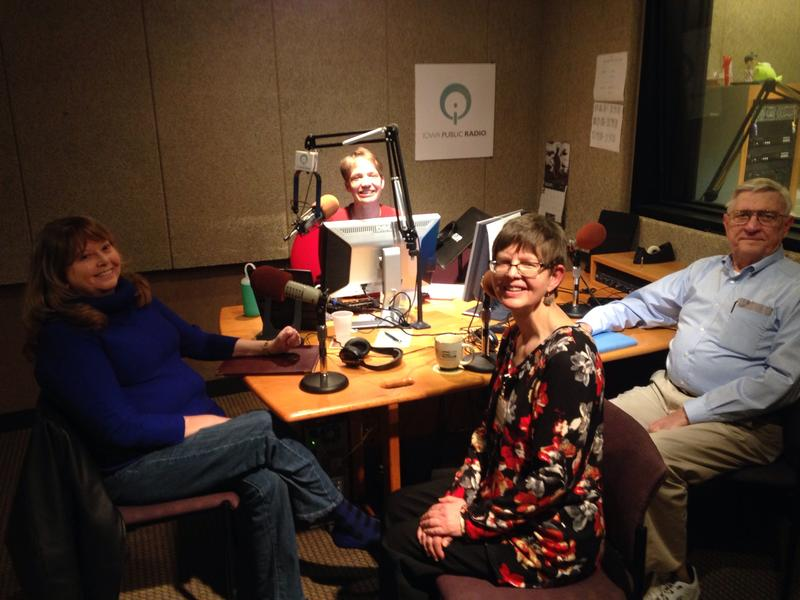 Charity Nebbe in IPR's Iowa City studios with Deb Moore, Margalea Warner and David Jepsen